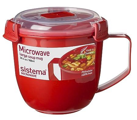 Sistema - Taza de sopa para microondas, plástico, rojo, 900 ml