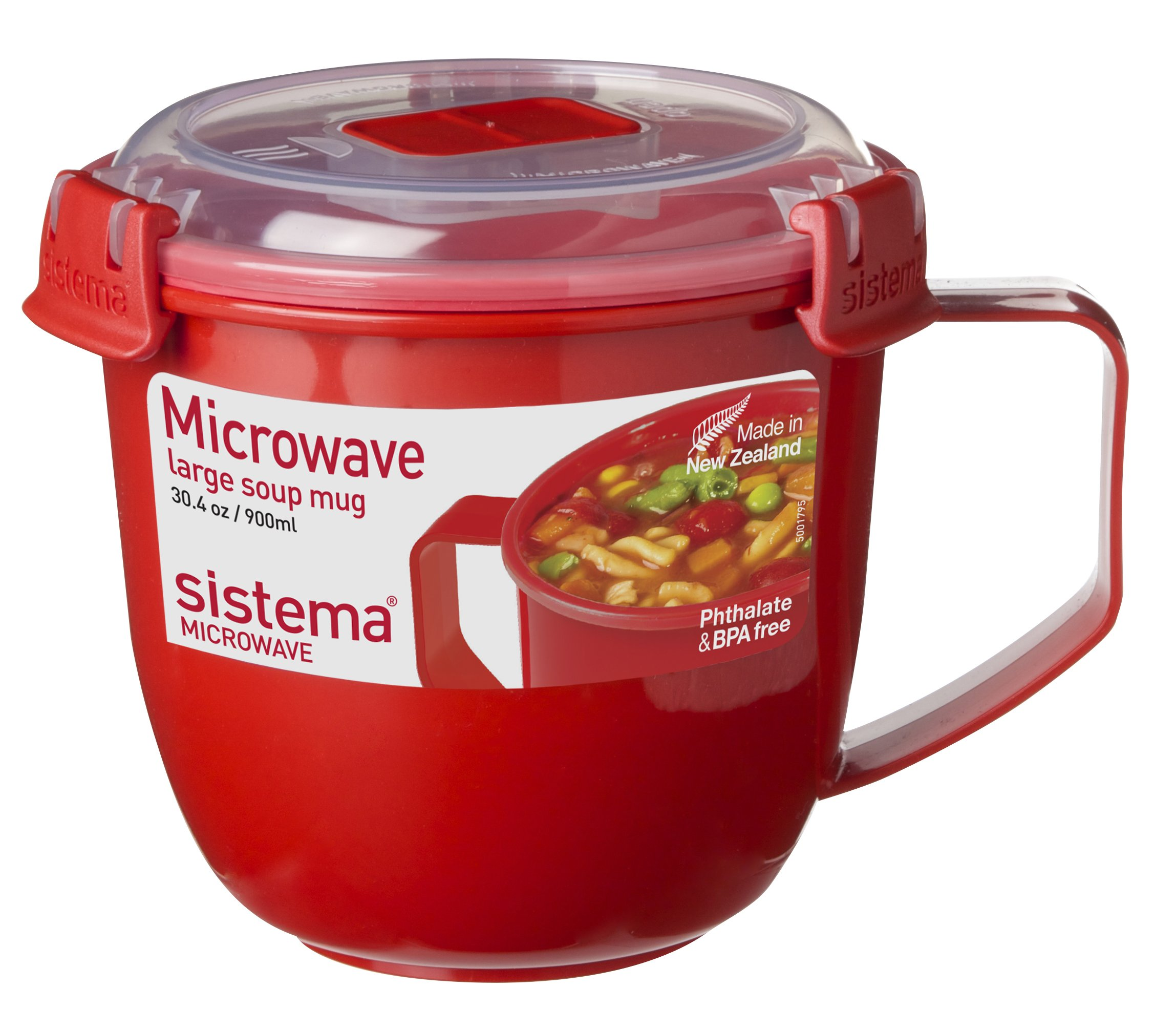 Sistema Microwave Collection Soup Mug, Large, 30.4 oz./0.9 L, Red by Sistema