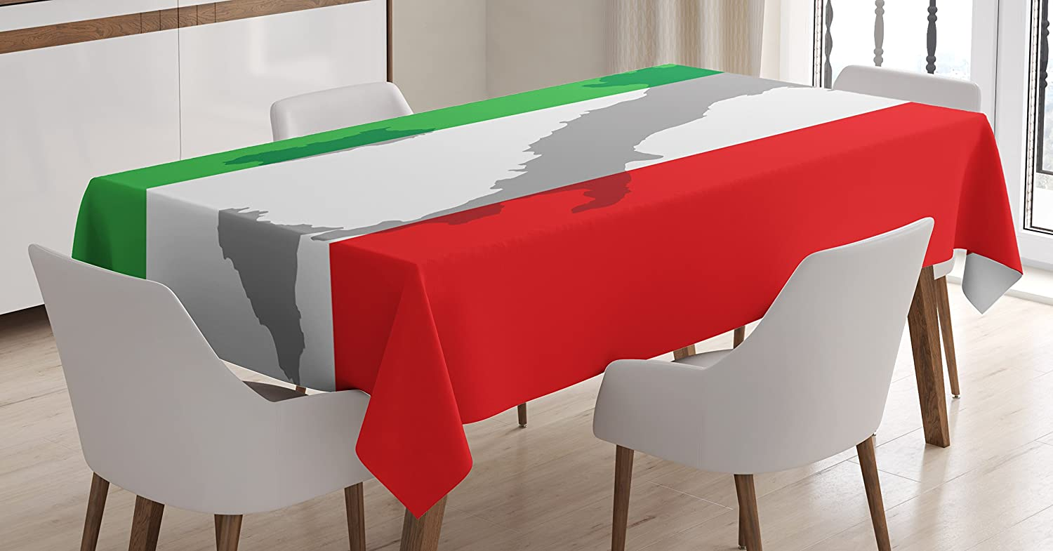 Lunarable Italian Flag Tablecloth, Map View of Italy Land Chart National Country Europe Ancient Culture, Dining Room Kitchen Rectangular Table Cover, 60 W X 84 L inches, Grey Red Fern Green