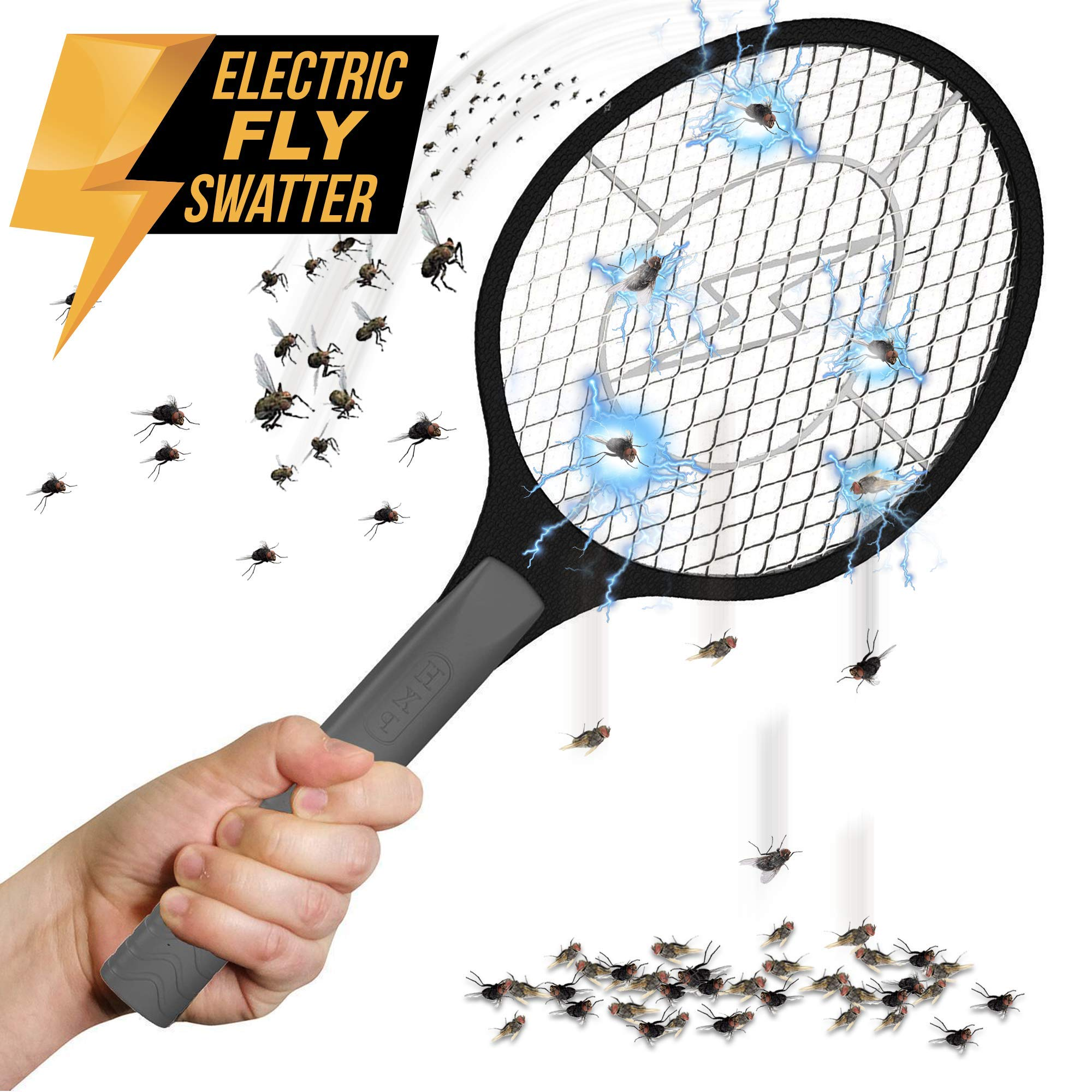 Bugzoff Electric Fly Swatter [Destroys Insects in Seconds] Mosquito Repellent & Insect Bug Killer Best Zapper Racket for Flies - Swat Wasp Insect Repellent Indoor and Outdoor Trap & Zap Pest Control by Bugzoff