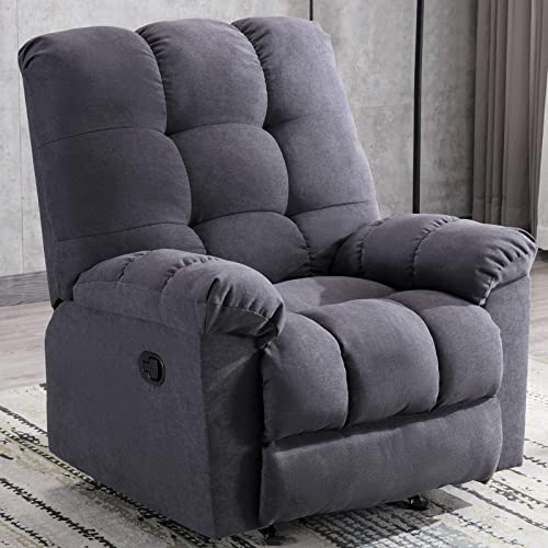 ANJ Rocker Recliner Chair Adjustable Overstuffed Fabric Manual Reclining Chair Soft Contemporary Sofa for Living Room Navy