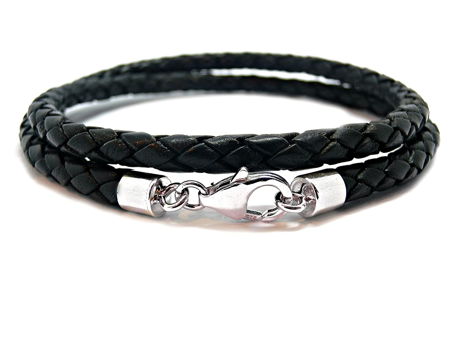 MENS LEATHER BRACELET-CHUNKY BRAIDED 5mm 925 STERLING SILVER TWIST CLASP