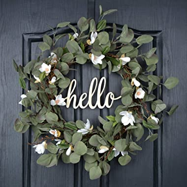 QUNWREATH Handmade 18 inch Lily Series Wreath,Green Leaf,Hello Letter,Gifts Package,Free Hooks,Front Door Rustic Wreath,Farmhouse Wreath,Grapevine Wreath,Light up Wreath,Everyday Wreath,QUNW74
