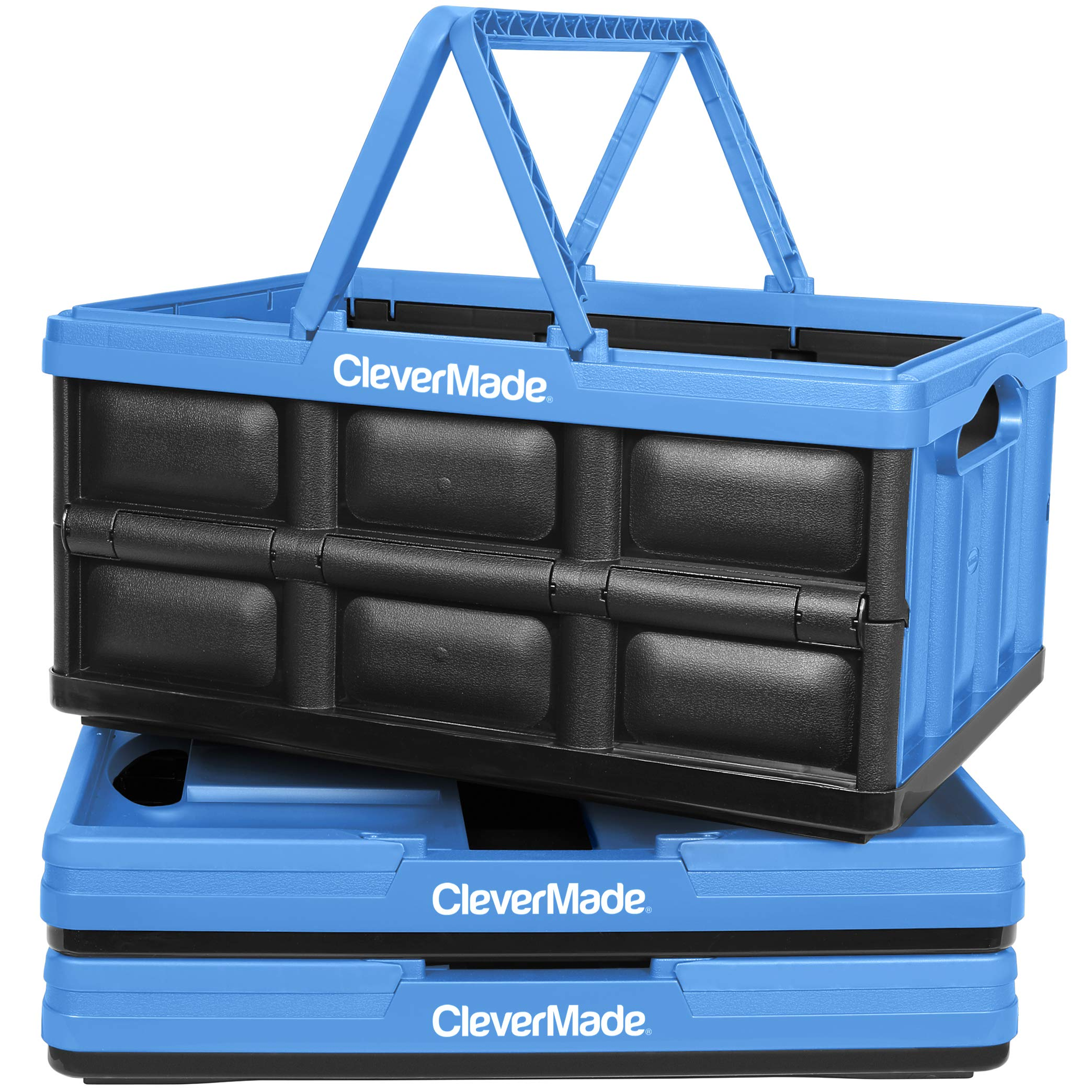 CleverMade Collapsible Plastic Storage Bins with Handles - Multi-Use Stackable Folding Crates for Home and Garage Organization - 32L CleverCrates - Pack of 3, Blue by CleverMade