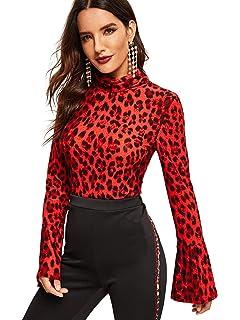 6b2f32a3259 SweatyRocks Women s Leopard Print Long Sleeve Turtleneck T-Shirt Basic  Blouse Tee Top