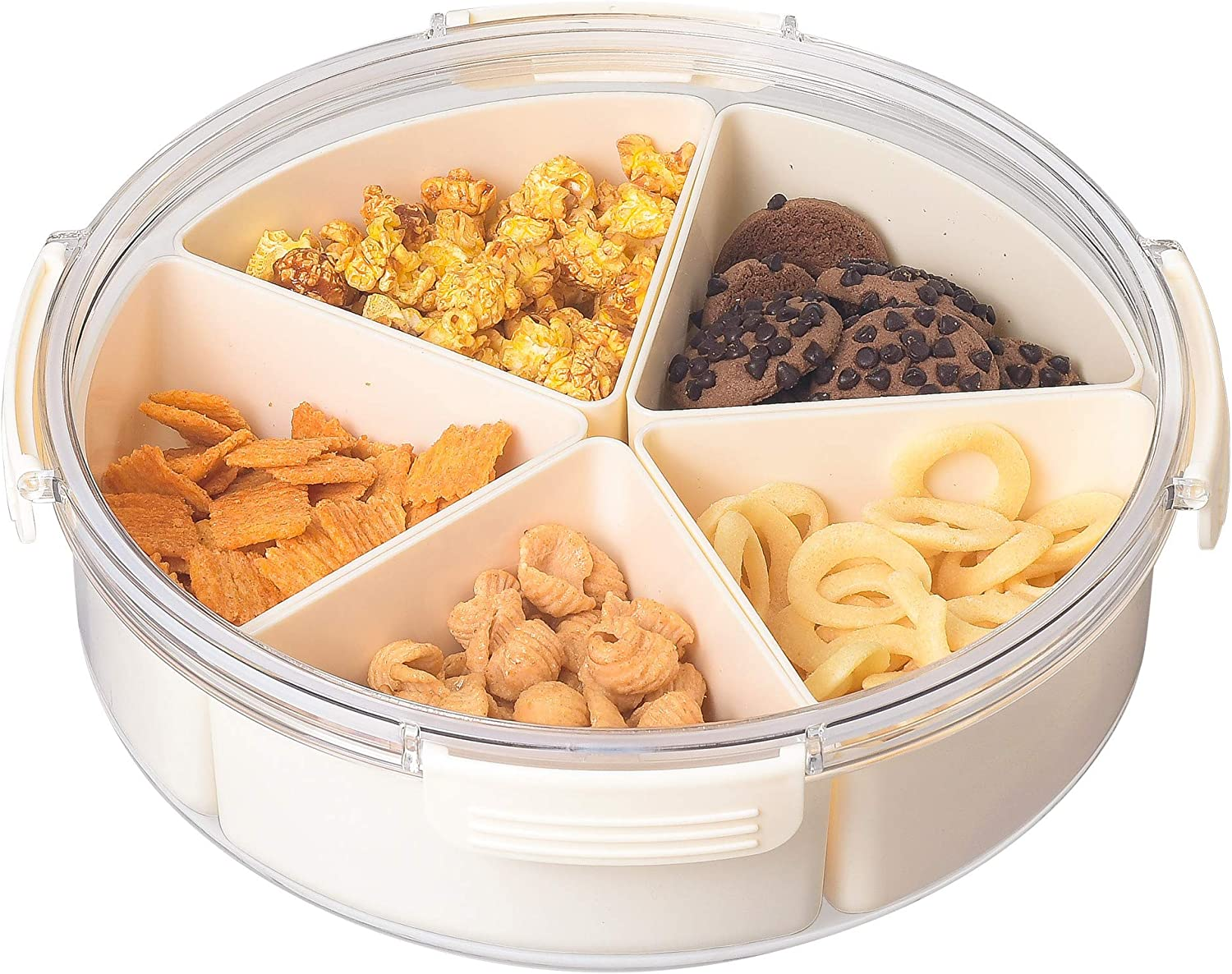 Beige Round Plastic Divided Serving Tray with Lids, 5 Individual Dishes Food Storage Containers, Serving Platter for Snack, Fruit, Veggie, Candies, etc.