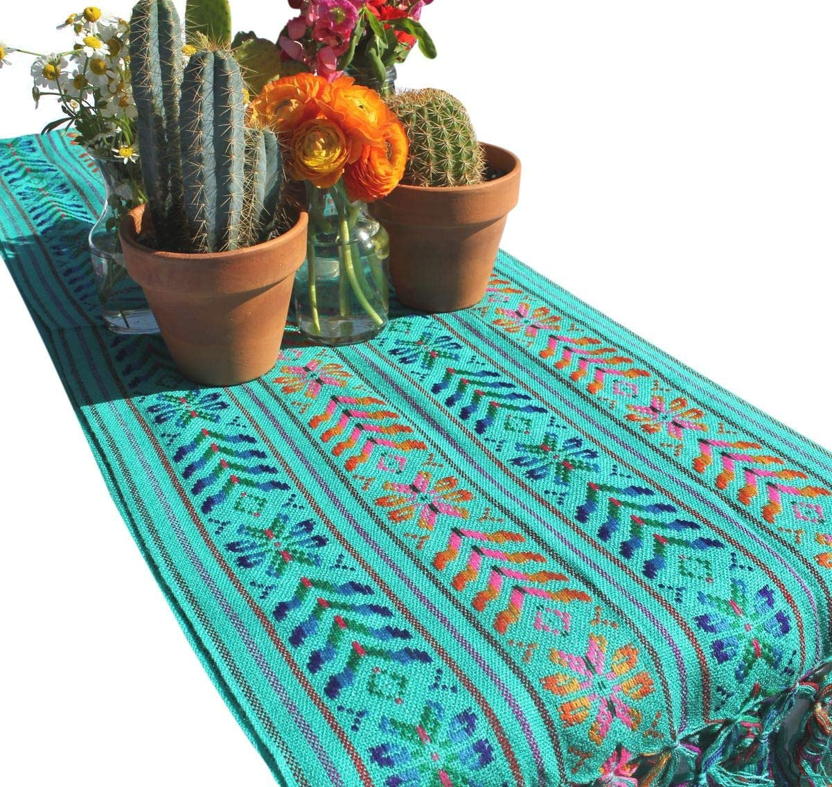 Del Mex Woven Rebozo Style Mexican Table Runner Scarf (Teal)