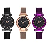 KDENTERPRISE Casual Analogue Designer Black Dial Combo of Magnet Watch - Pair of 3 - for Girls & Women - Black-Purple-Copper