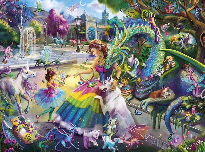 Buffalo Games - Flights of Fantasy - Dragon's Garden (Glitter Edition) - 1000 Piece Jigsaw Puzzle