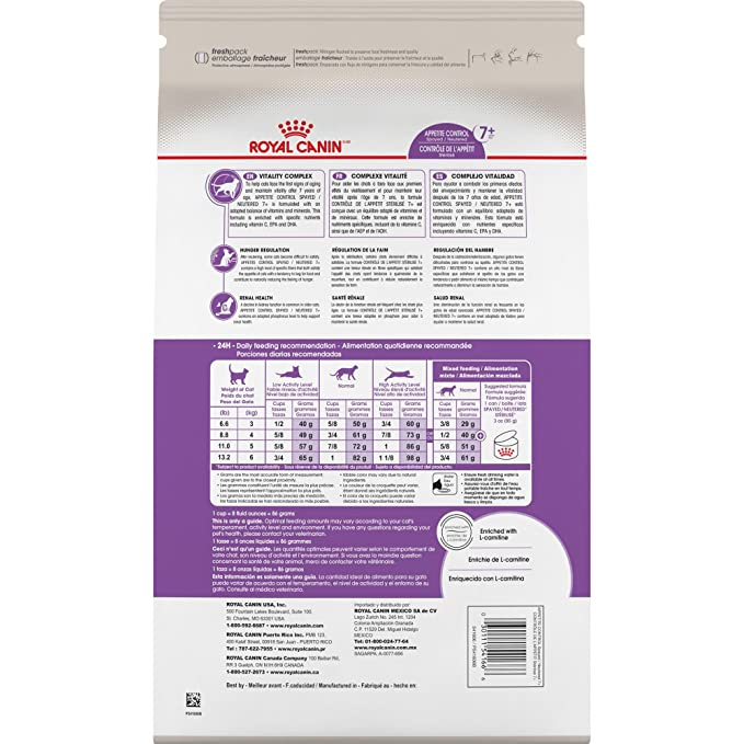 Amazon.com : Royal Canin Feline Health Nutrition Appetite Control 7+ Spayed Neutered Dry Adult Cat Food, 6Lb : Dry Pet Food : Pet Supplies