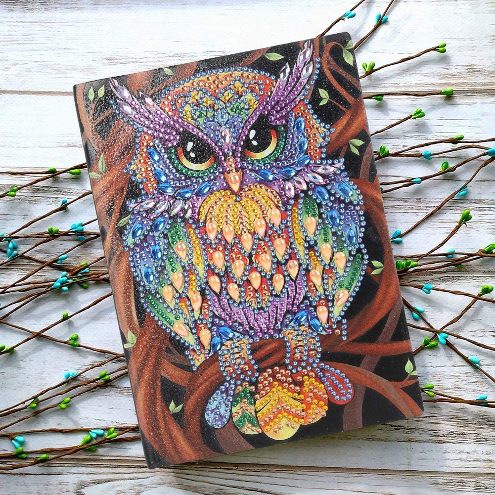 Leather Diary Book with Diamond Painting Cover Journal for Journaling Writing Note Taking Diary and Planner-A5 50 Page//Blank Book Owl Diamond Painting Cover Notebook