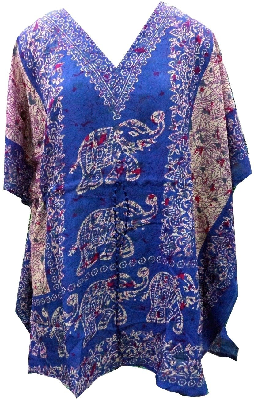 RiSi Women's Elephant Kaftan, Short V-Neck Top, Kimono Tunic Kaftan Dress RC-020