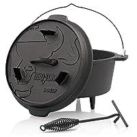 Premium DO45P BBQ-Toro Holzkohlegrill Gusseisen schwarz klein Charcoal Grill Garten Camping Picknick ✔ rund
