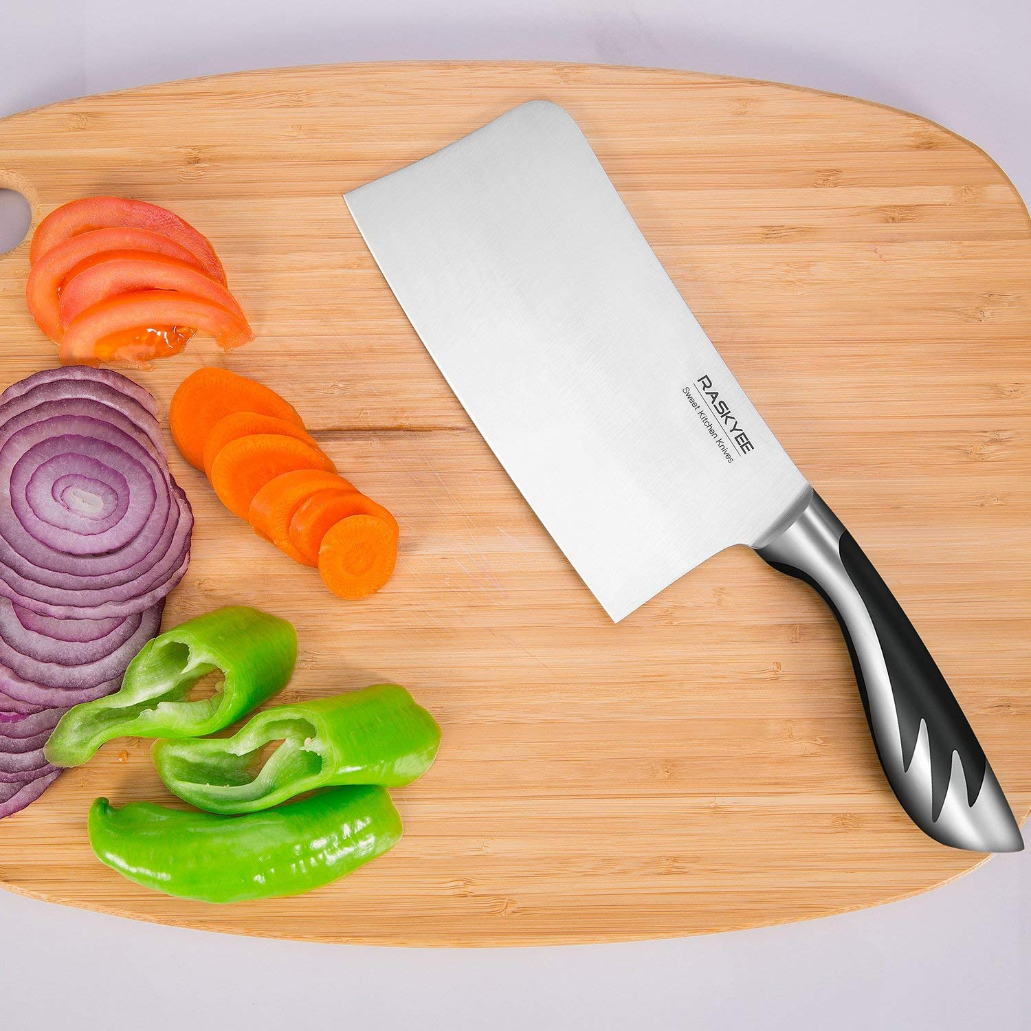 Raskyee Pro 7 inch Kitchen Chef Knife -German Stainless Steel- Razor Sharp Blade & Easy Grip Handle Chopping, Carving & Slicing Knife -Meat, Vegetable & Fruit Cleaver for Home & Restaurants