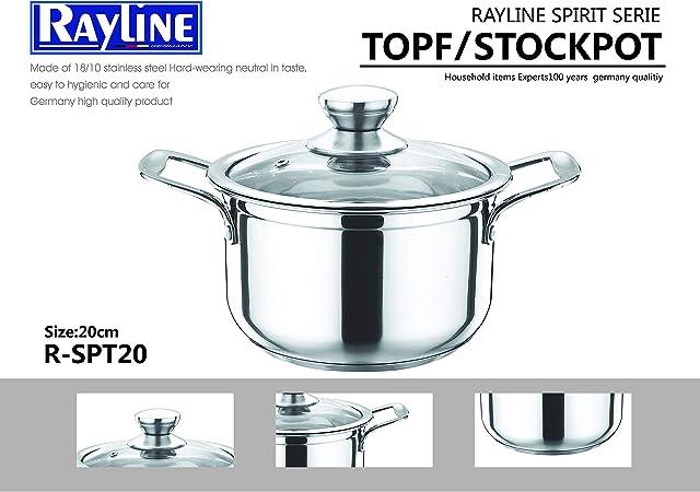 Rayline Spirit Serie - Olla de acero inoxidable con tapa, 20 cm de ...