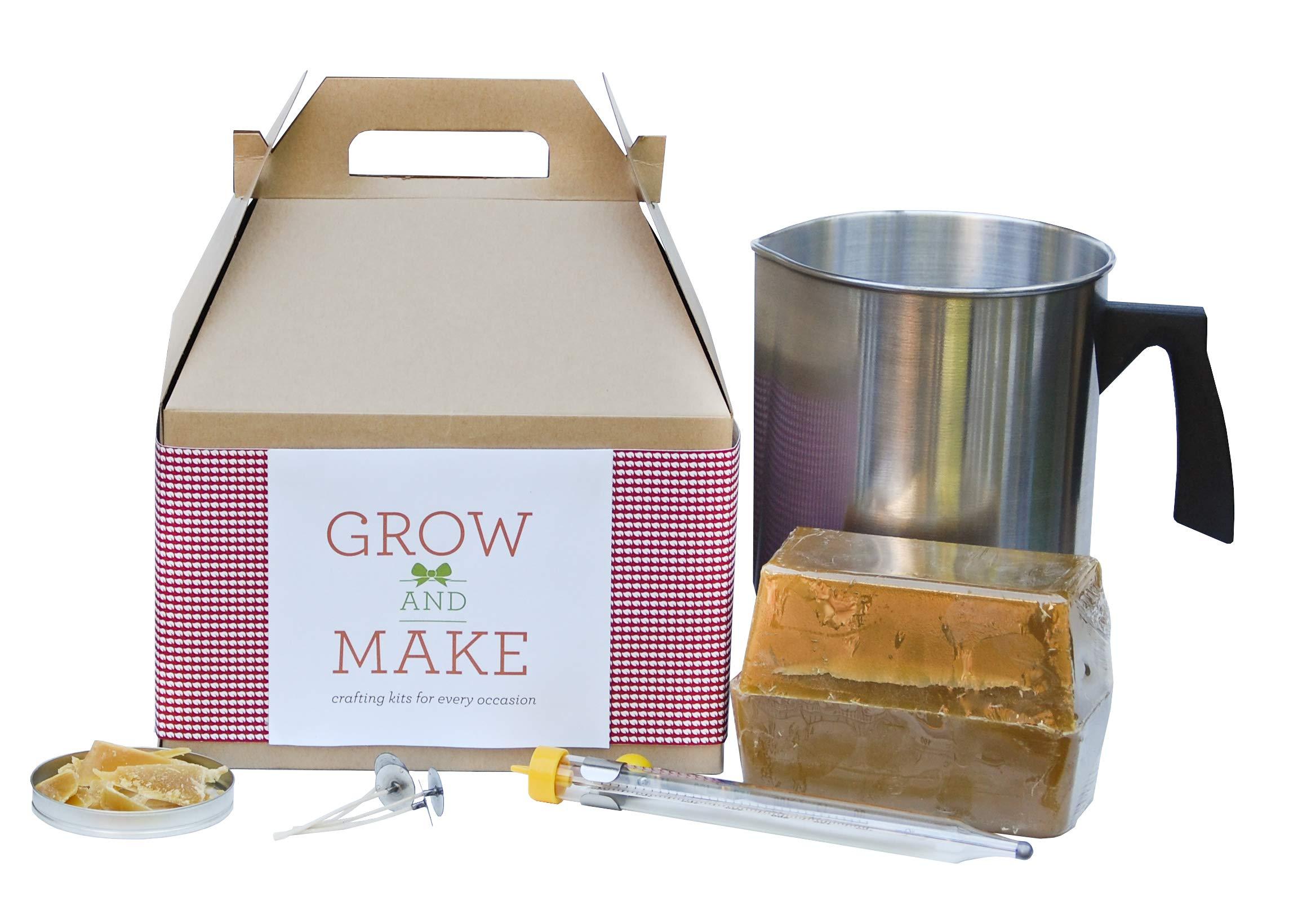 Grow and Make DIY Deluxe Beeswax Candle Making Kit - Make 6 Large Mason Jar Candles at home!