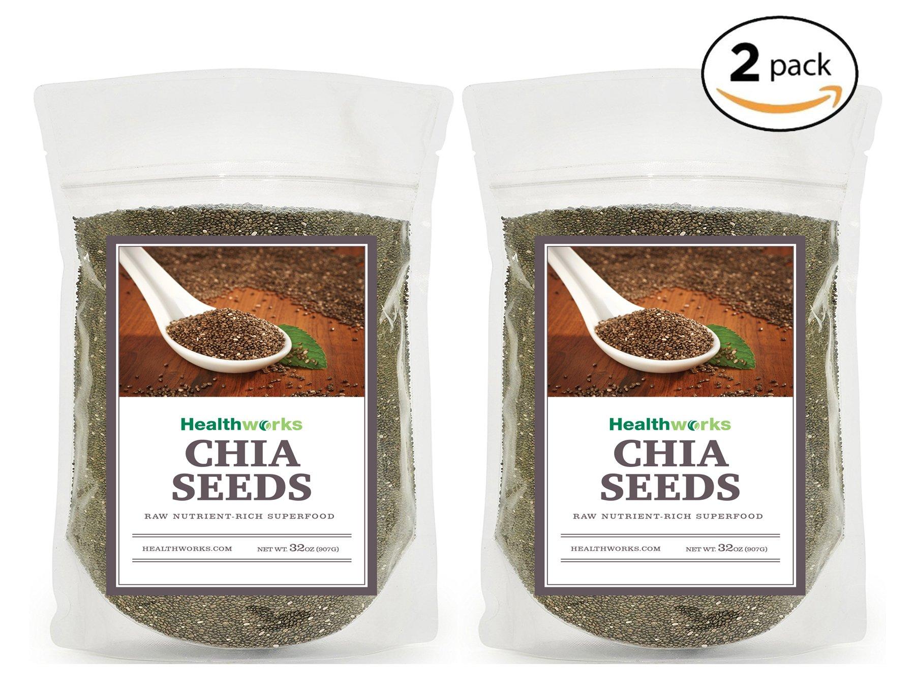 Healthworks Chia Seeds Raw Pesticide-Free, 4lb (2 2lb Packs)