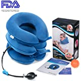 Health Cervical Neck Traction Device - FDA Registered - Inflatable & Adjustable Neck Stretcher Collar, Instant Pain Relief for Chronic Neck and Shoulder Pain ✮ Bonus Therapy Massage Ball