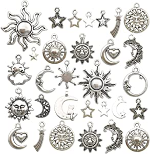 100g(80pcs) Craft Supplies Mixed Antique Silver Sun Moon Stars Charms Pendants for Crafting, Jewelry Findings Making Accessory for DIY Necklace Bracelet (M250)