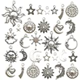 100g(80pcs) Craft Supplies Mixed Antique Silver Sun Moon Stars Charms Pendants for Crafting, Jewelry Findings Making…