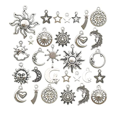 20pcs Lucky Lotus Round Pendants Silver DIY Pendants Charms for Necklace Making