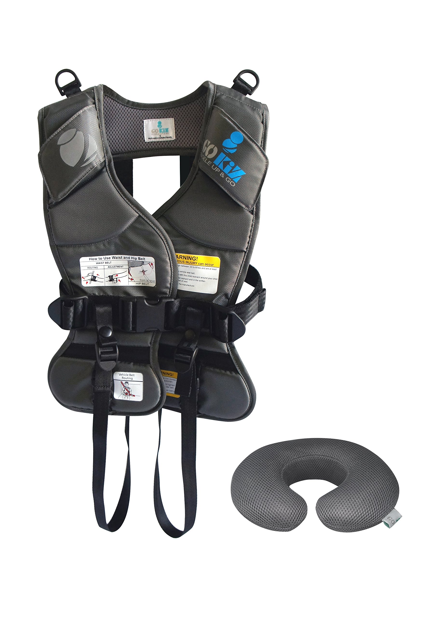 GOKIZ Car Seat Vest, Charcoal, Small