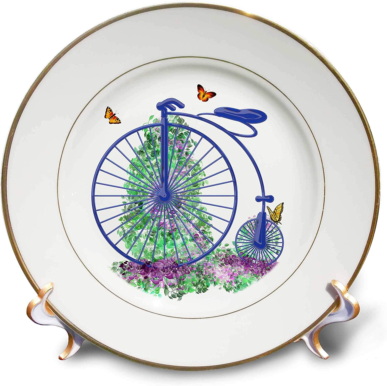 3dRose Penny Farthing Big Wheel Style Bike with Spring Flowers Digital Art - Plates (cp_335858_1)
