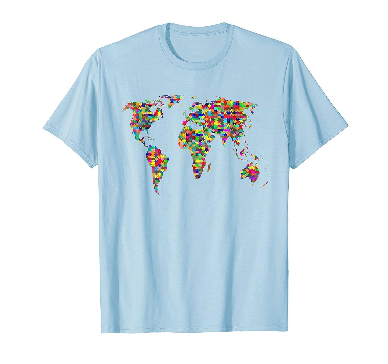 Amazon Com Kids Puzzle World Map T Shirt Boys Girls Atlas Global