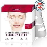 """Premium Tuchmasken Luxury Lift+ mit Dermatest-Note """"Sehr Gut"""". Pflegende Anti-Aging-Falten Gesicht Sheet Vlies Masken von Konivéo. 100% ohne Parabene & Alkohol (4 x 1 Stück Monats Spar Set)"""