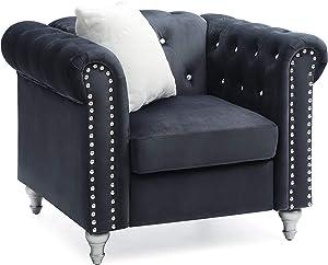 Glory Furniture Raisa , Black Chair, 1 Seater