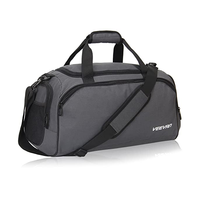 78efff015110 ... Veevanpro 18 inch Small Gym Bag Travel Sports Duffel Bag Carry on Grey  finest selection 70d21 ...