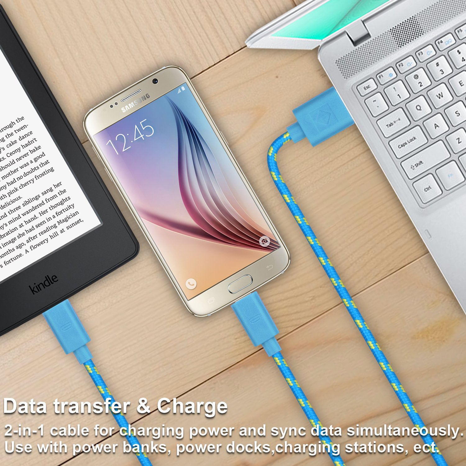 Micro USB Charger, Eversame 10-Pack Colorful 3Ft 1M Nylon Braided USB 2.0 A Male to Micro B Data Sync and Charging Cable Cord For Android Phones, Samsung Galaxy S6 Edge Plus/Note 5, HTC, LG and More by Eversame (Image #4)