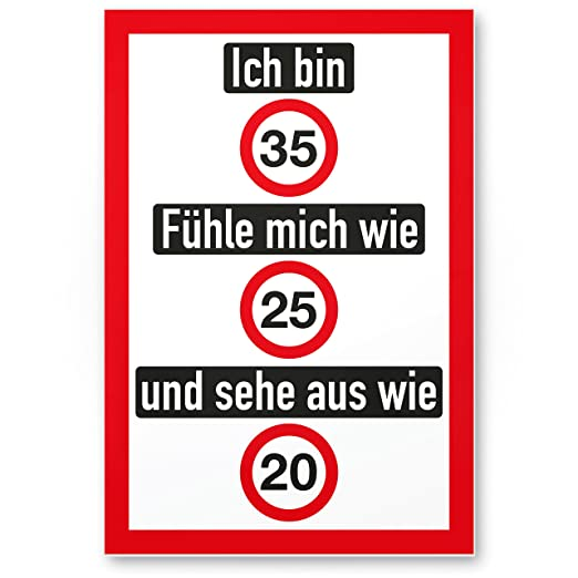 DankeDir!. Ich Bin 35 años - Letrero (Amable), de plástico ...