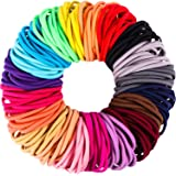 200 Pieces No-metal Hair Elastics Hair Ties Ponytail Holders Hair Bands (4 mm, Multicolor) (Multicolor)