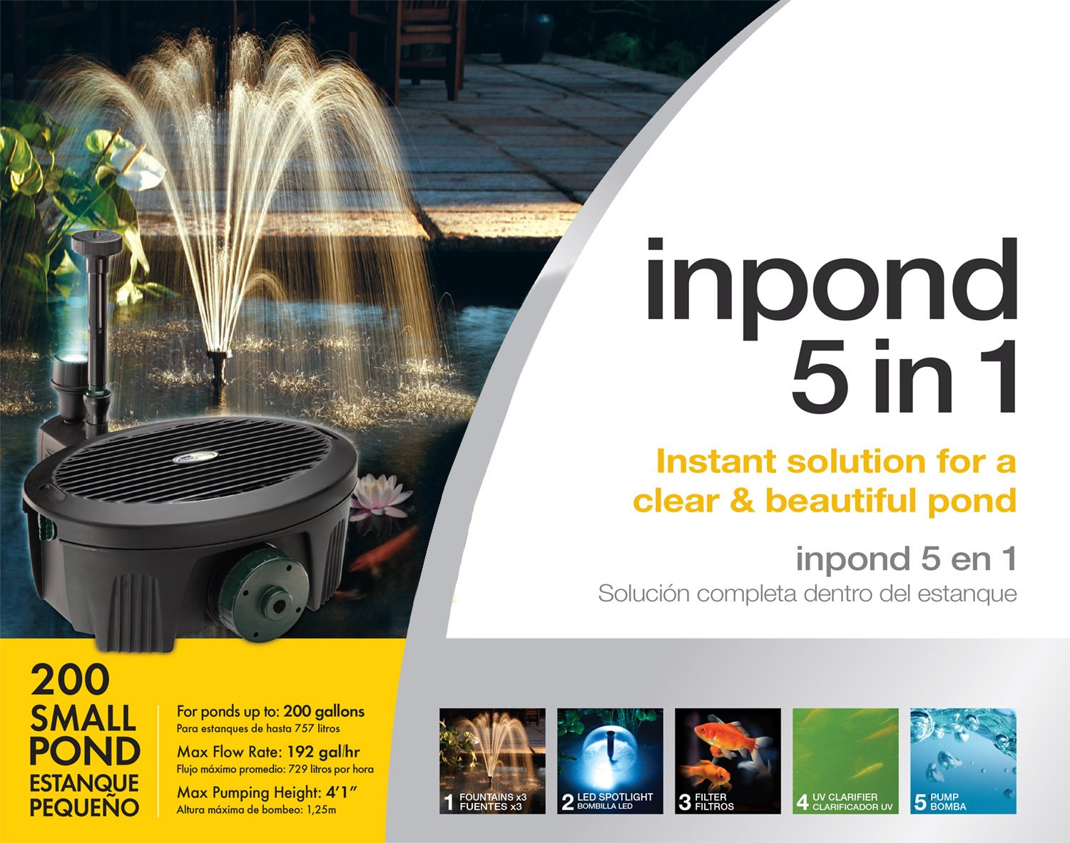 Amazon.com: Aquagarden Pennington, Inpond 5 in 1, Pond Pump, Filter, Uv Clarifier, LED Spotlight & Fountain, All in One Solution for A Clear & Beautiful ...