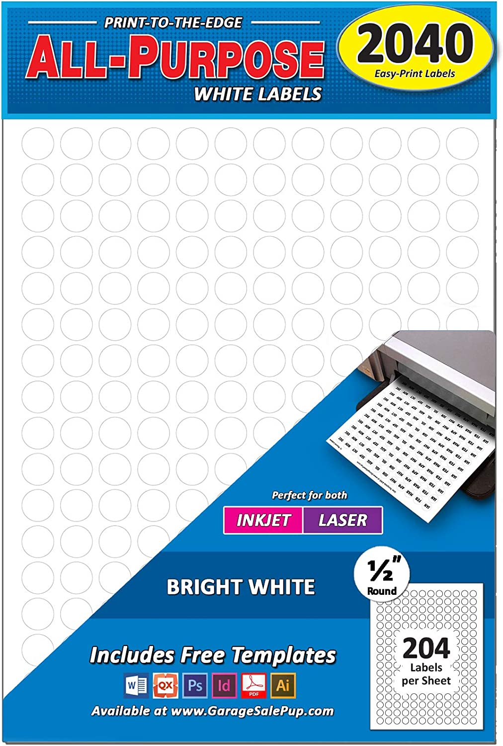 "Pack of 2040 1/2"" Round Circle Dot Labels, White, 8 1/2"" x 11"" Sheet, Fits Any Printer"