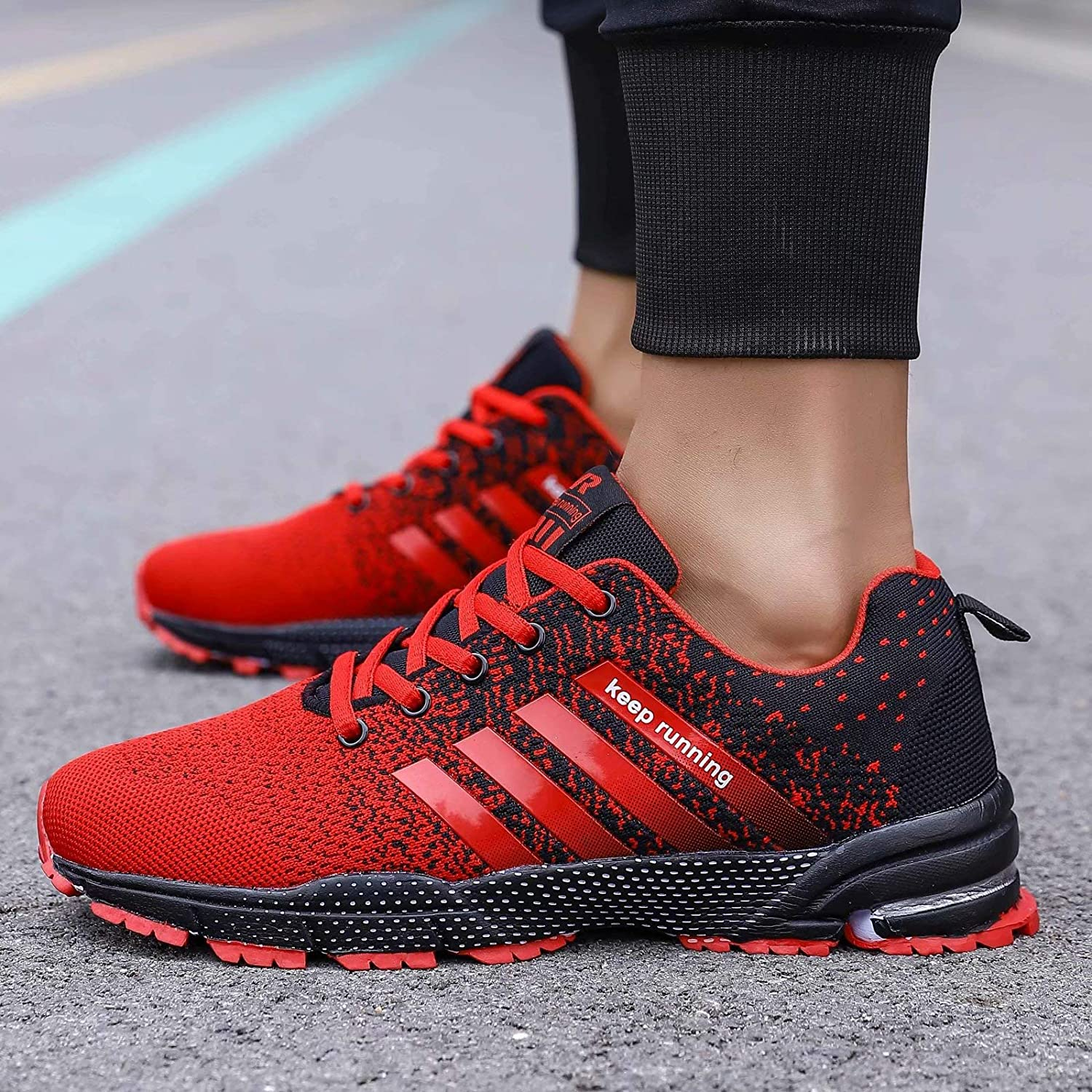 GSLMOLN Running Shoes Mens Womens Road Slip on Cool Comfortable Light Best Keep Athletic SportIndoor Outdoor Gym Tennis Sneaker