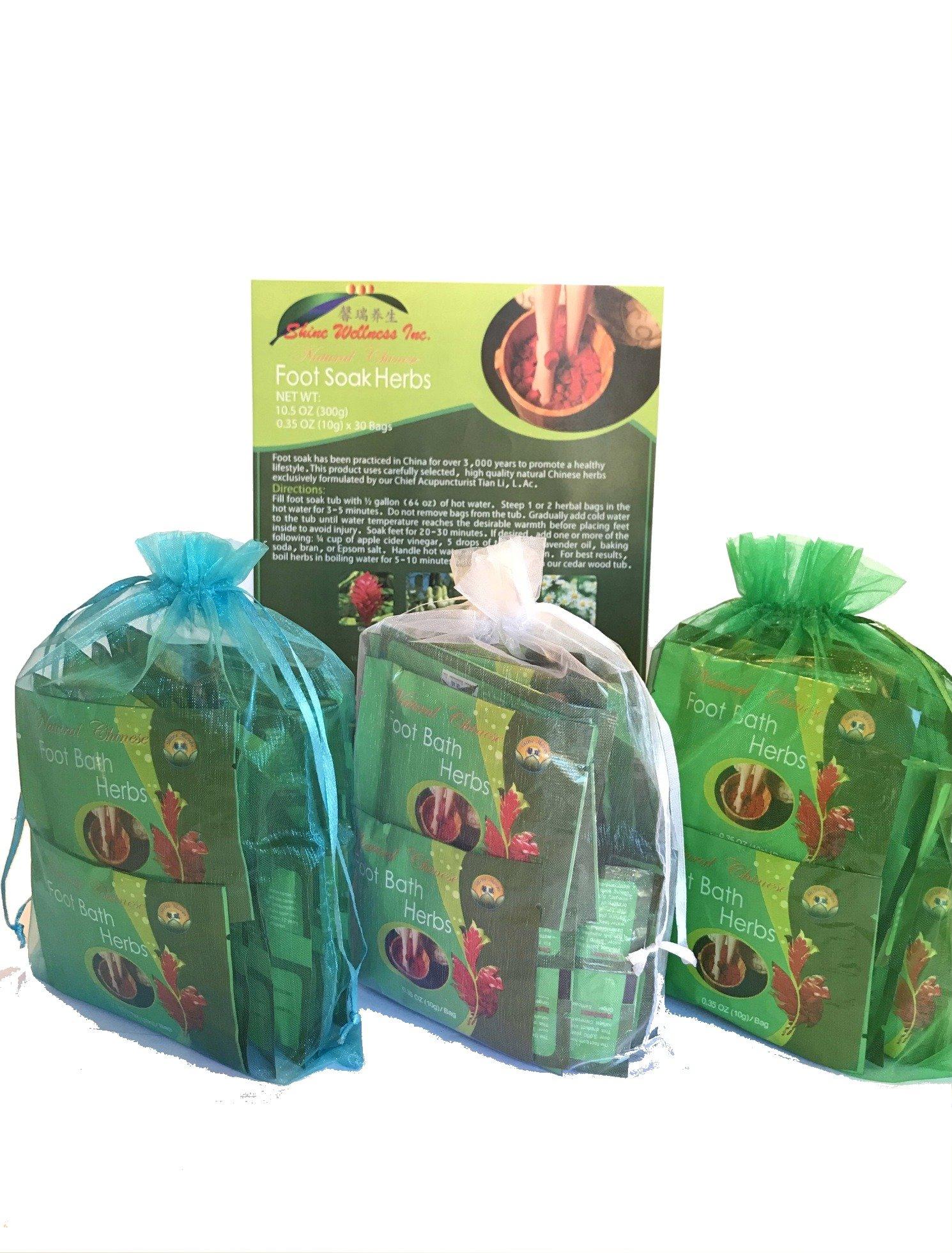 TCM Head-to-Toe Pack- 3 Boxes Foot Soak Herbs Plus 2 Free Bags Mugwort & Bath Herbs Samples $8 Value by Shine Wellness Inc