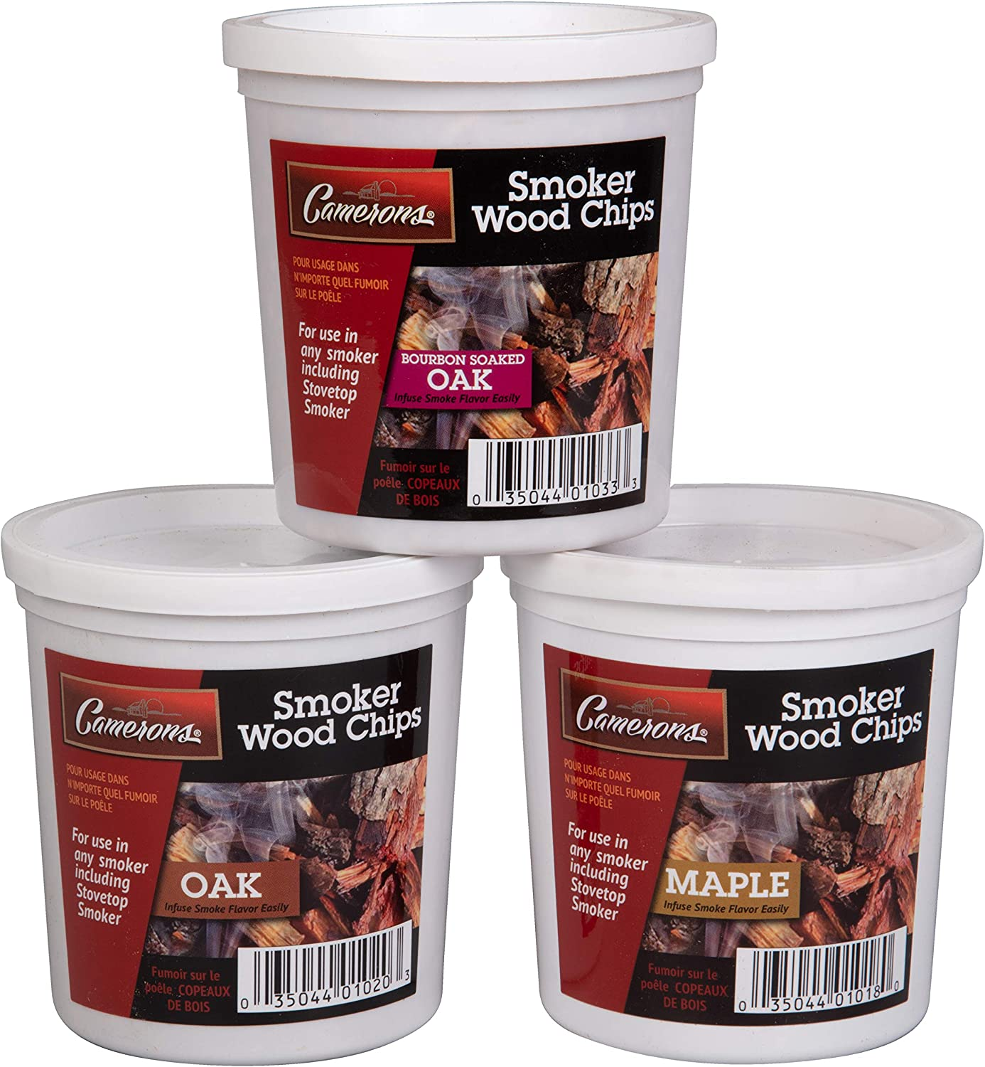 Wood Smoking Chips - Bourbon Soaked Oak, Maple, and Oak Wood Chips for Smokers - Set of 3 Resealable Pints (0.473176 L)