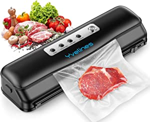 Yvelines Vacuum Sealer Machine,Automatic Food Sealer for Food Savers,Dry&Moist Modes,Portable Vacuum Sealing Machine with 10 Vacuum Bags & Cutter(Black)