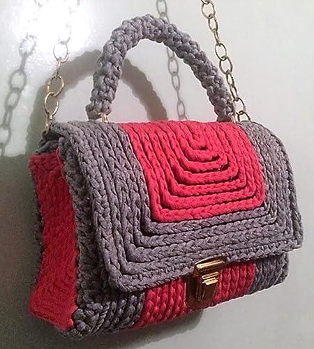 e1643b6661 Amazon.com  Women Crochet Hand Bag Shoulder Bag Plastic Canvas 10 mm ...