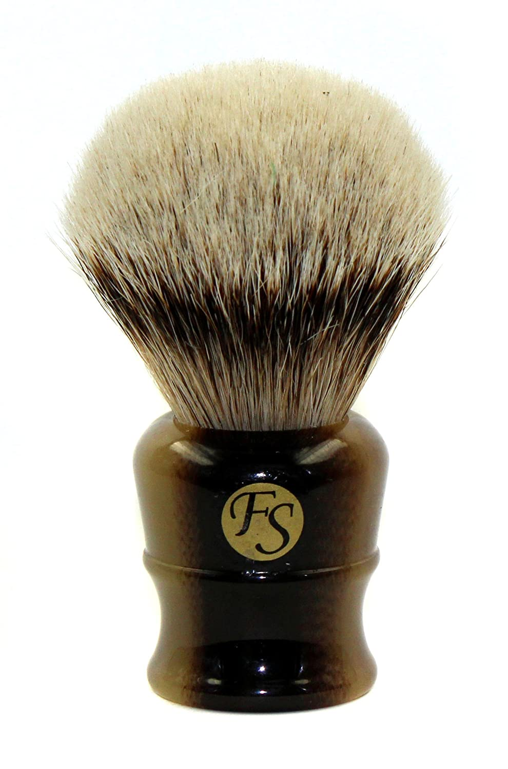 Super Large Silvertip Badger Shaving Brush with Faux Horn Handle Comes with Free Stand by Frank Shaving FS