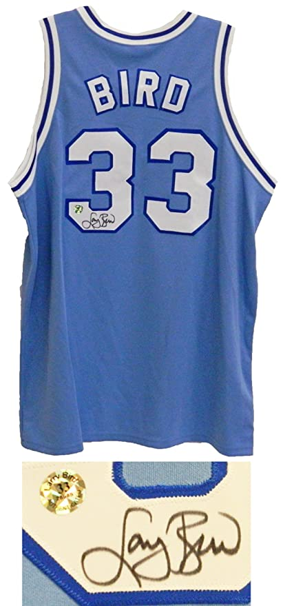 sports shoes 4eac6 a5b39 Signed Larry Bird Jersey - Indiana State Majestic Blue ...