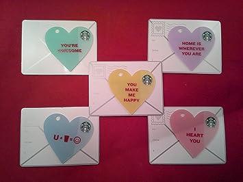 Amazon Com Starbucks Valentine S Day Gift Cards Set Of 5 Die Cut