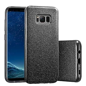 Coovertify Funda Purpurina Brillante Negra Samsung S8, Carcasa Resistente de Gel Silicona con Brillo Negro para Samsung Galaxy S8 (5,8