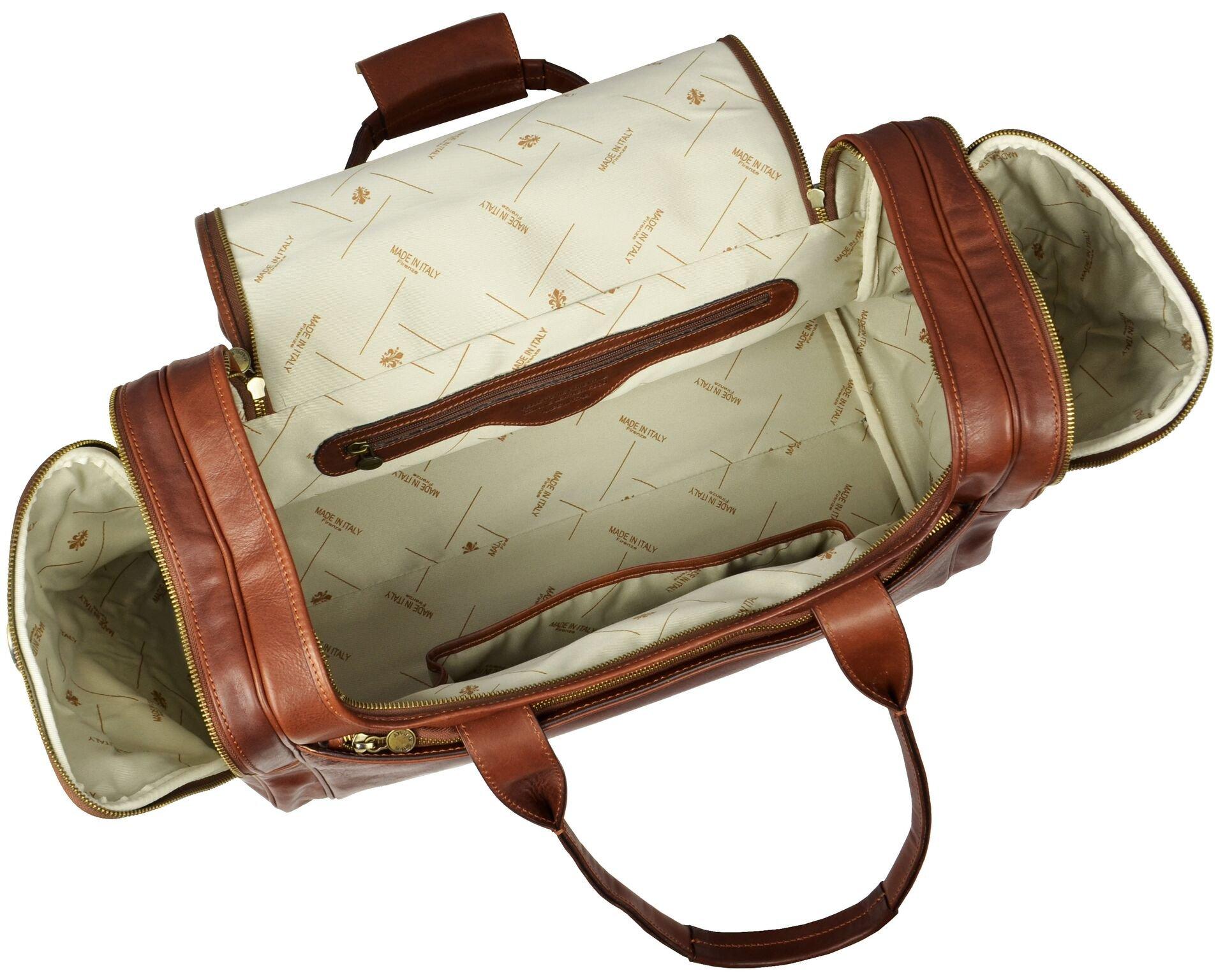 Leather Duffel Bag, Weekend Bag, Gym, Large Travel Bag, Cognac, Brown - Time Resistance by Time Resistance (Image #6)