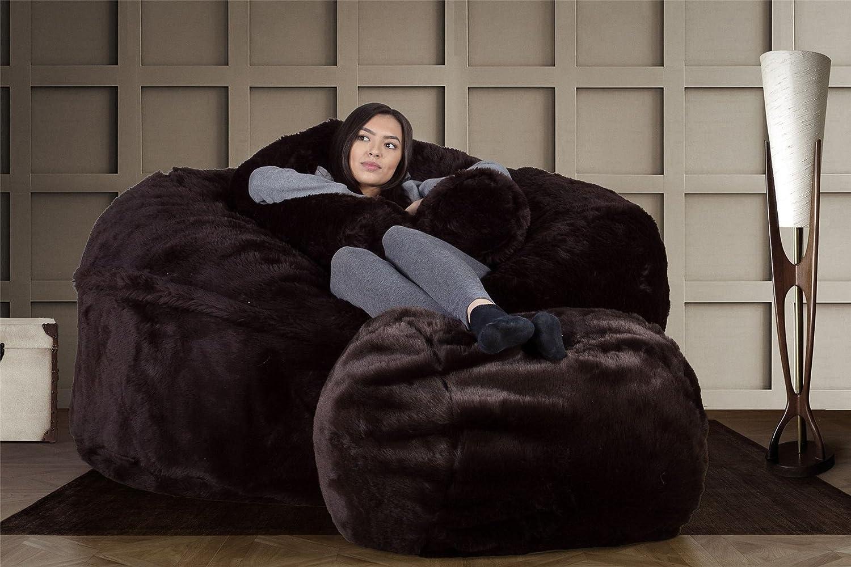 b4634df0850d Lounge Pug® - CLOUDSAC - Huge Memory Foam - Fluffy FAUX FUR - GIANT Bean  Bag SOFA - 1000 Litre - Beanbag UK - BROWN Bear  Amazon.co.uk  Kitchen    Home