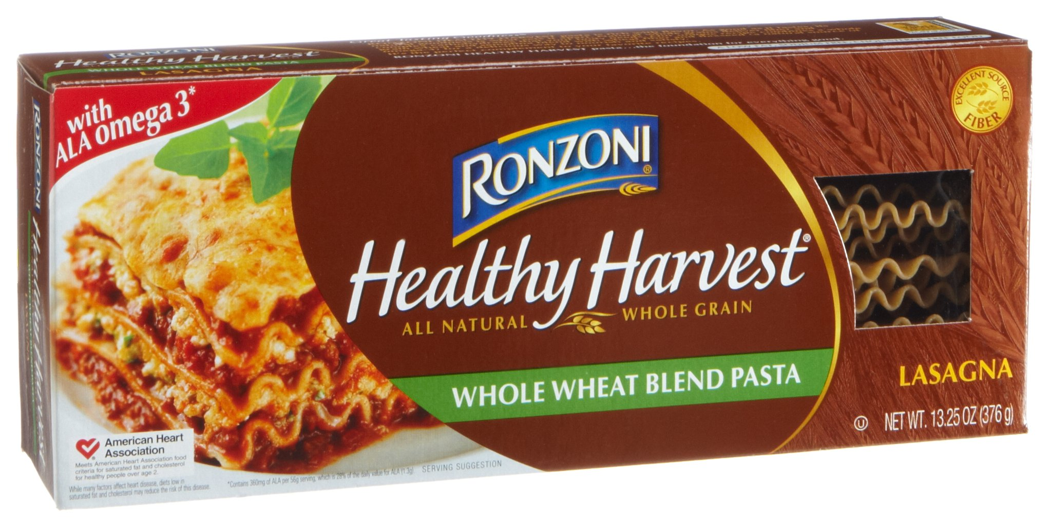 Ronzoni Healthy Harvest Whole Wheat Blend Pasta, Lasagna, 13.25-Ounce Boxes (Pack of 6)