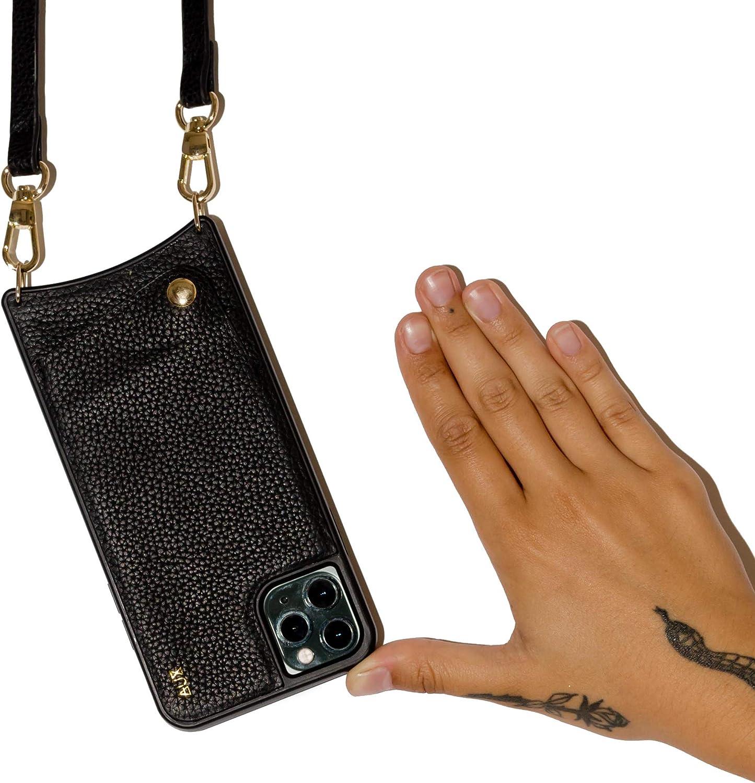 Estilo Bandolera para M/óvil iPhone iPhone 11 Pro MAX, Negro Cuello Aux Funda para iPhone de Piel para Colgar al Hombro
