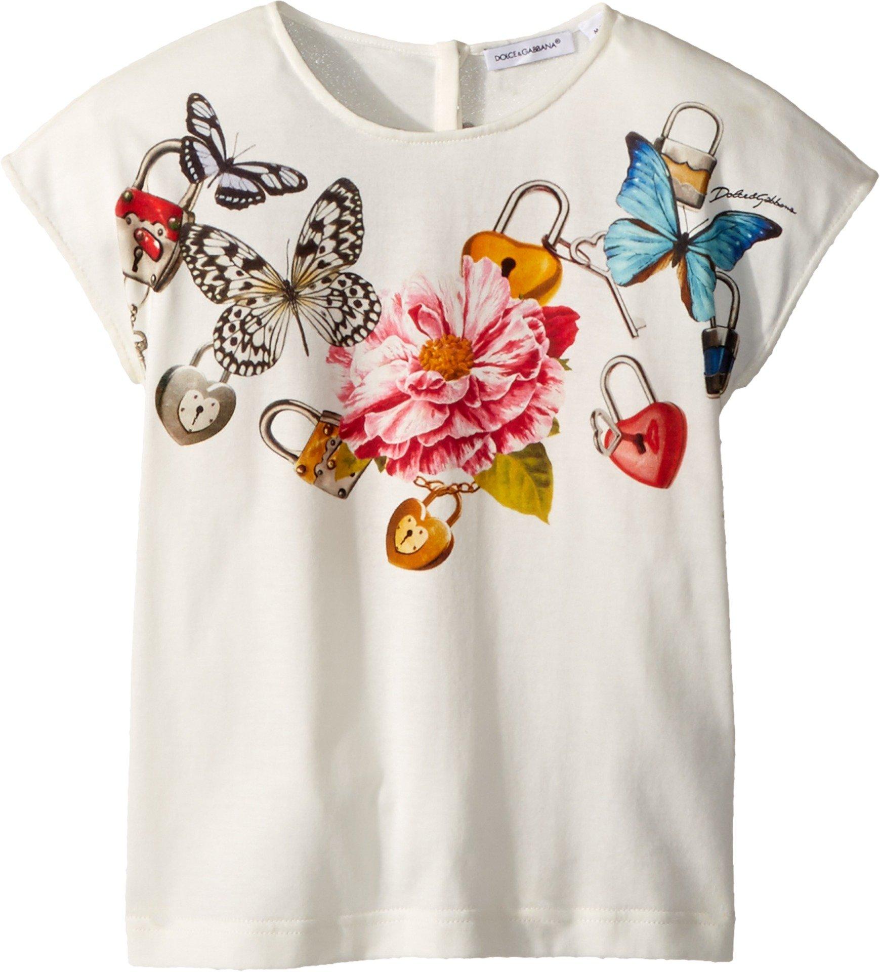 Dolce & Gabbana Kids Baby Girl's T-Shirt (Toddler/Little Kids) White Print 5